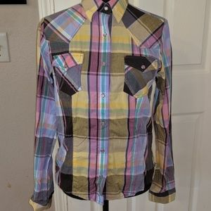 Multi colored Rockies Western Button Up